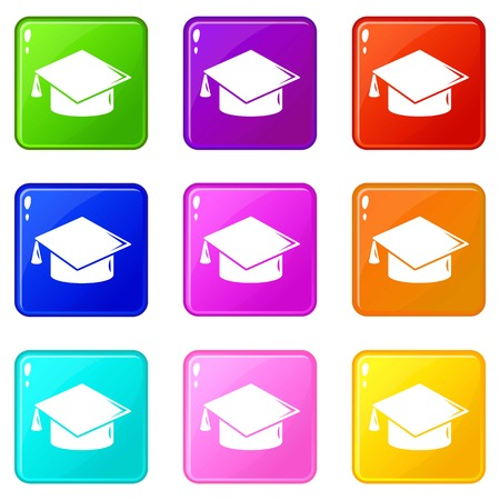 Graduation cap icons set 9 color collection isolated on white for any design
