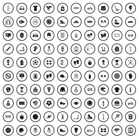 100 sport accessories icons set in simple style for any design vector illustration Banque d'images - 124688523