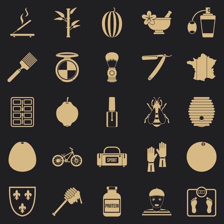 Perfume icons set, simple style
