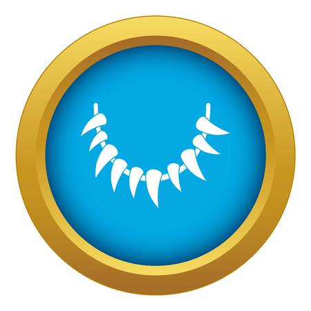 Tooth necklace icon blue vector isolated