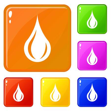 Raindrop icons set vector color Illustration