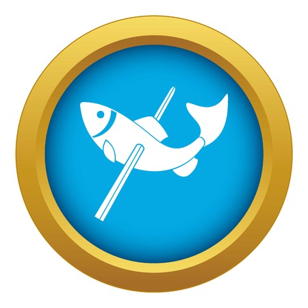 Fishing icon blue vector isolated