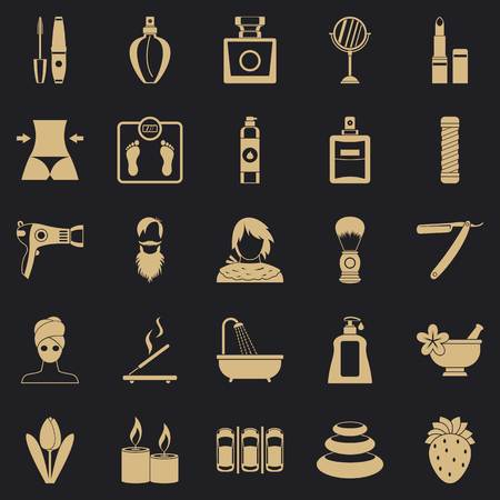 Cosmetology icons set, simple style
