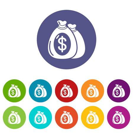 Money bag icons color set vector for any web design on white background