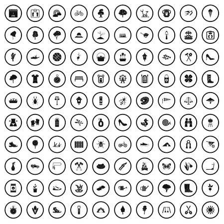 100 spring icons set in simple style for any design vector illustration Illustration