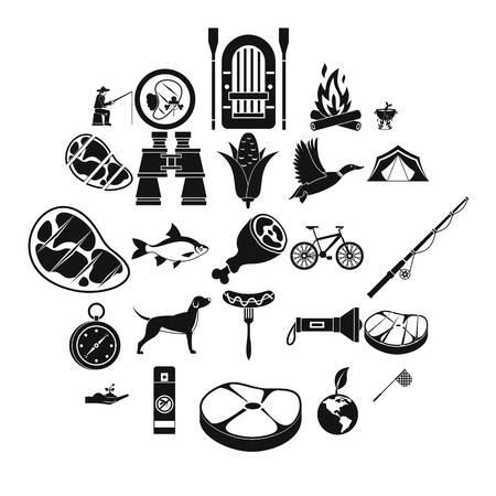 Fishing holidays icons set, simple style