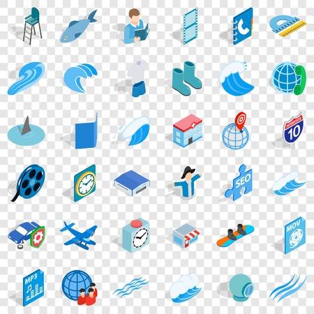 Blue plane icons set, isometric style Vettoriali