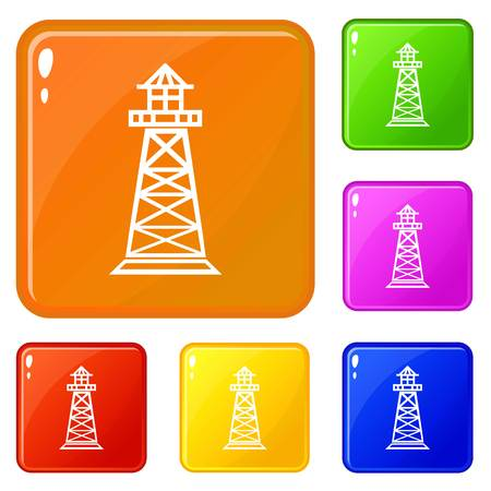 Lighthouse icons set vector color Illustration