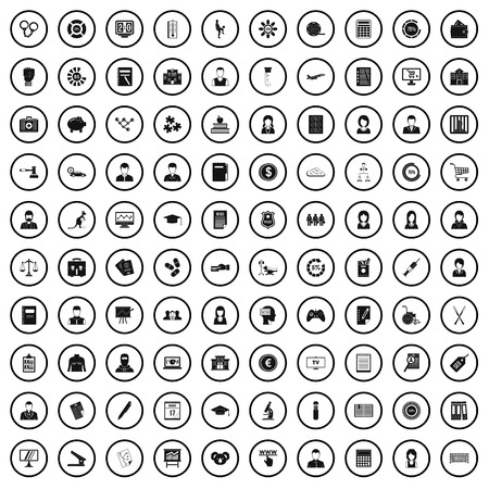 100 statistic data icons set in simple style for any design vector illustration 向量圖像
