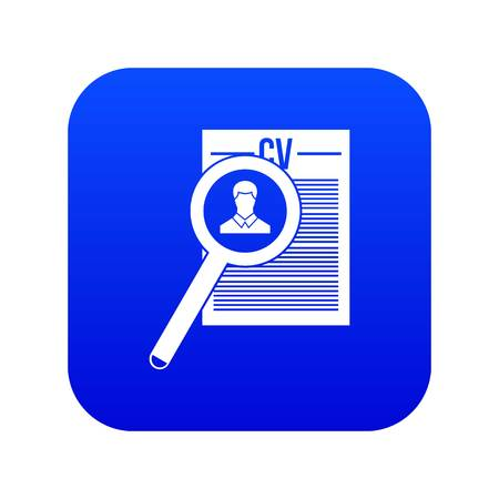 Magnifying glass over curriculum vita icon digital blue for any design isolated on white vector illustration Illustration