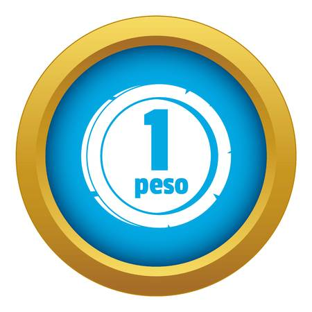 Peso icon blue vector isolated Illustration