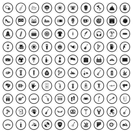 100 street festival icons set in simple style for any design vector illustration Ilustração