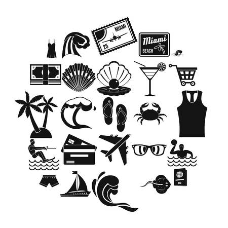 Tropical holiday icons set. Simple set of 25 tropical holiday vector icons for web isolated on white background