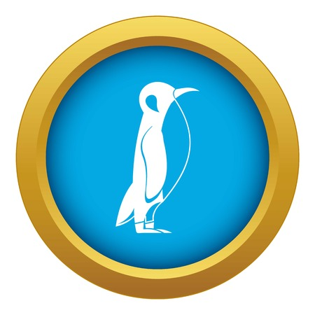 Penguin icon blue vector isolated