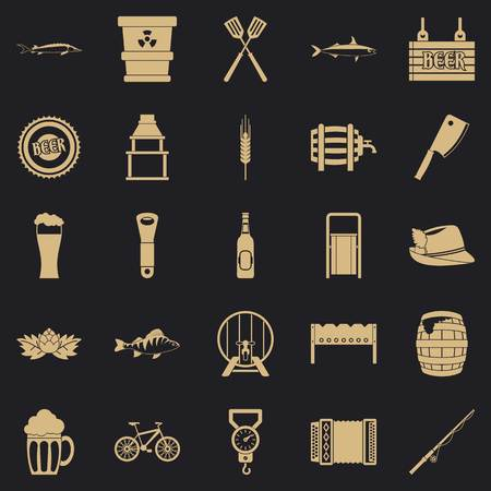 Fishery icons set, simple style