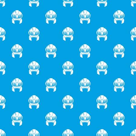 Knight helmet medieval pattern vector seamless blue repeat for any use