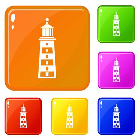 Seaside lighthouse icons set vector color