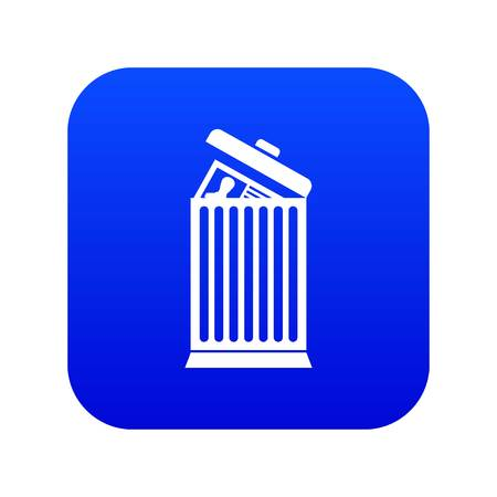 Resume thrown away in the trash can icon digital blue for any design isolated on white vector illustration