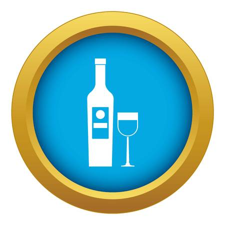 Wine icon blue vector isolated