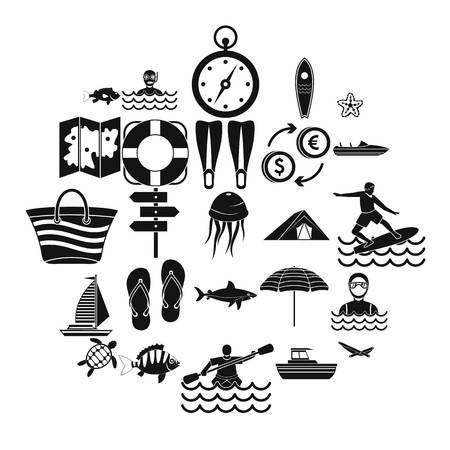 Tropical country icons set. Simple set of 25 tropical country vector icons for web isolated on white background Illustration