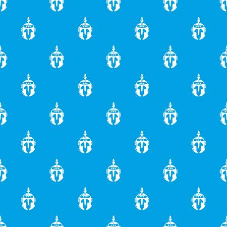 Knight helmet pattern vector seamless blue repeat for any use