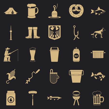 Fishing icons set. Simple set of 25 fishing vector icons for web for any design Çizim