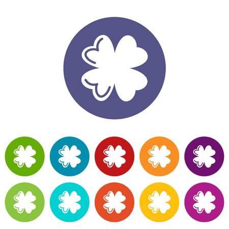 Quatrefoil leaf icons set vector color