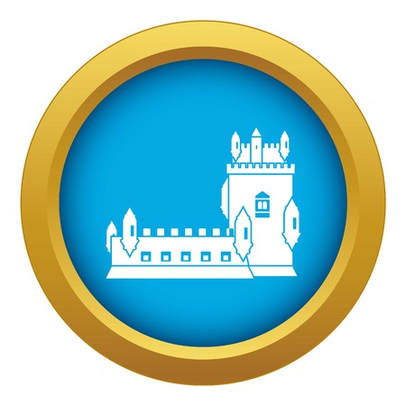 History castle icon blue vector isolated Illustration