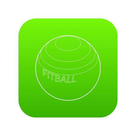 Fitball or large sports rubber ball for fitness icon in outline style isolated on white background Illustration