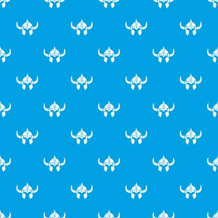 Viking helmet knight pattern vector seamless blue repeat for any use