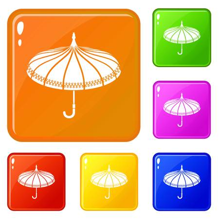 Umbrella icons set vector color