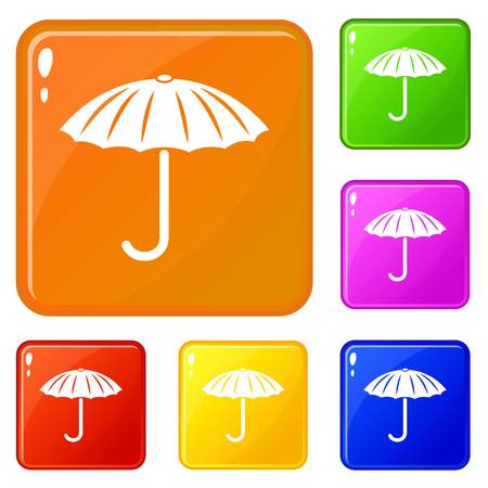 Protection umbrella icons set vector color