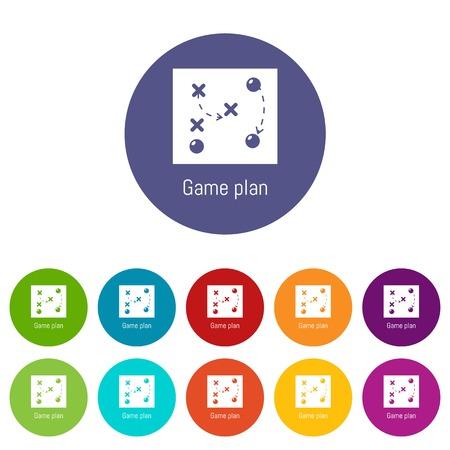 Jeu de couleurs des icônes du plan de jeu vecteur pour toute conception de sites Web sur fond blanc