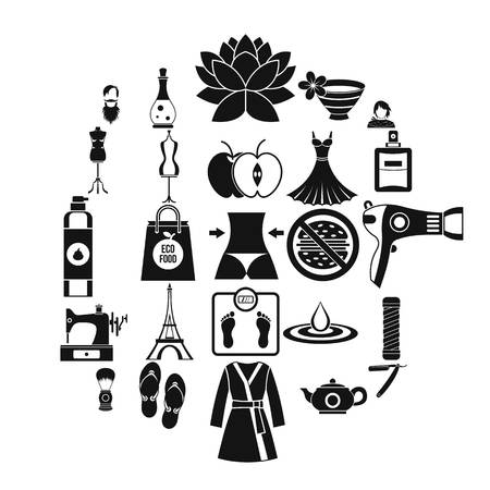 Sewing icons set, simple style