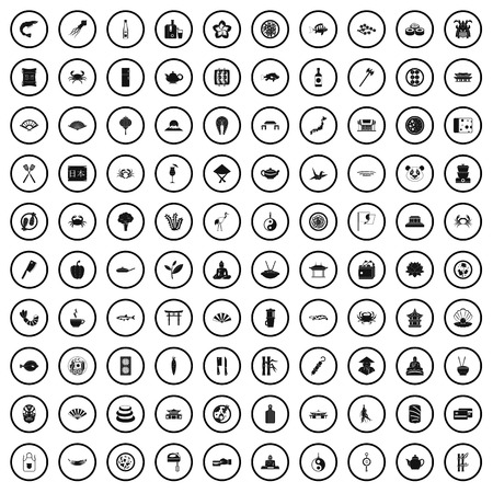 100 sushi bar icons set in simple style for any design vector illustration