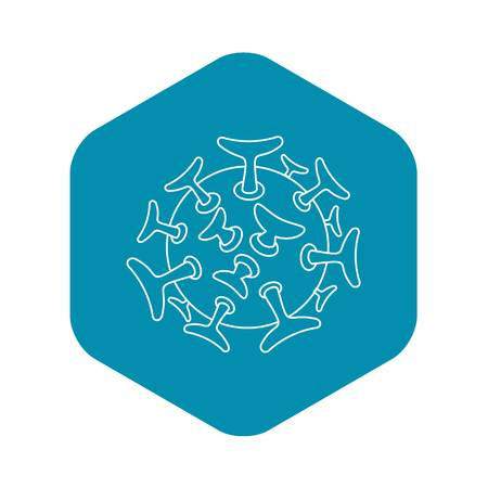 Round viral bacteria icon. Outline illustration of round viral bacteria vector icon for web