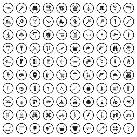 100 tackle icons set in simple style for any design vector illustration