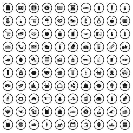 100 supermarket icons set in simple style for any design vector illustration