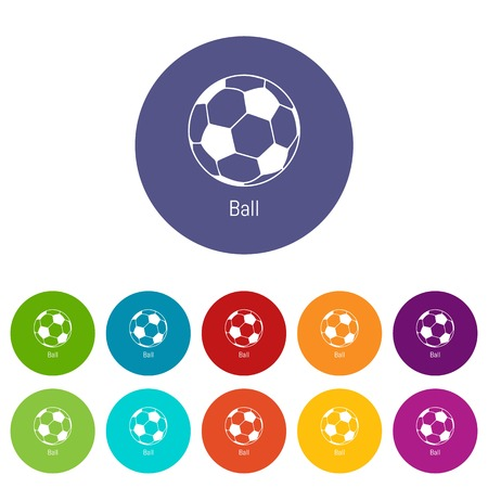 Football ball icons color set vector for any web design on white background