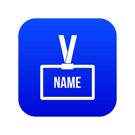 Plastic Name badge with neck strap icon digital blue for any design isolated on white vector illustration