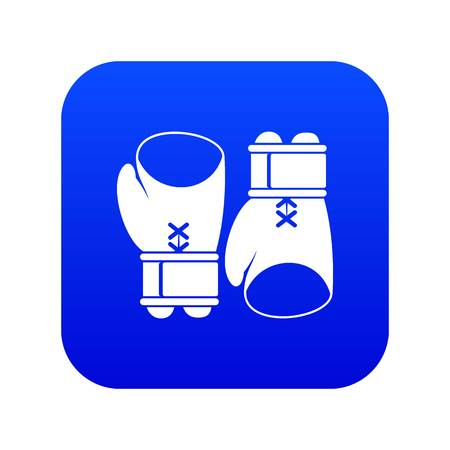Boxing gloves icon digital blue for any design isolated on white vector illustration