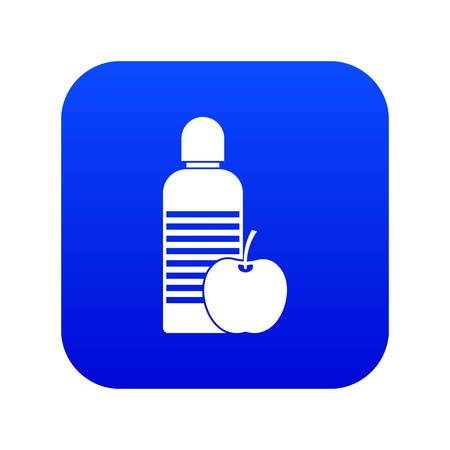 Bottle of water and apple icon digital blue for any design isolated on white vector illustration 向量圖像