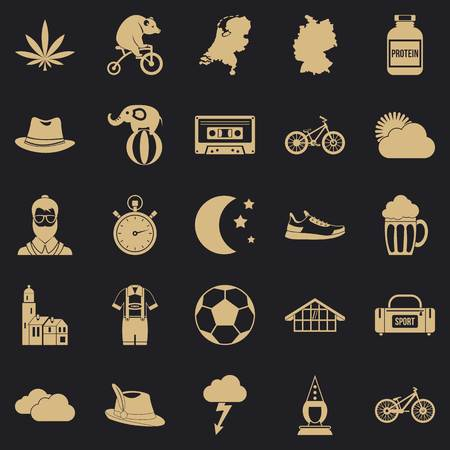 Bicycle icons set, simple style