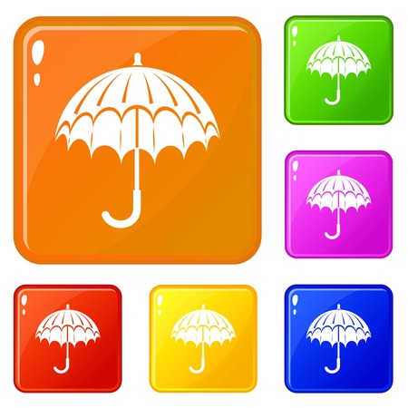 Opened umbrella icons set vector color Illustration