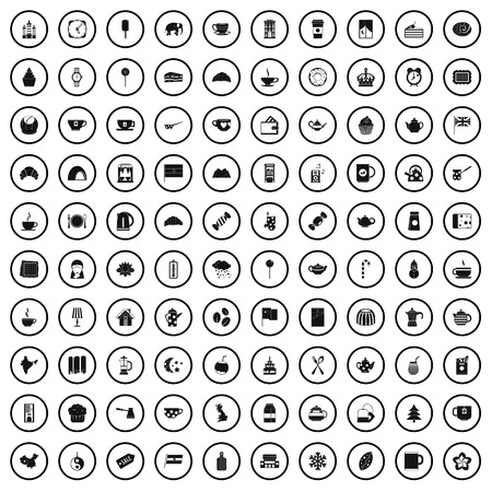 100 tea cup icons set, simple style Stock Illustratie