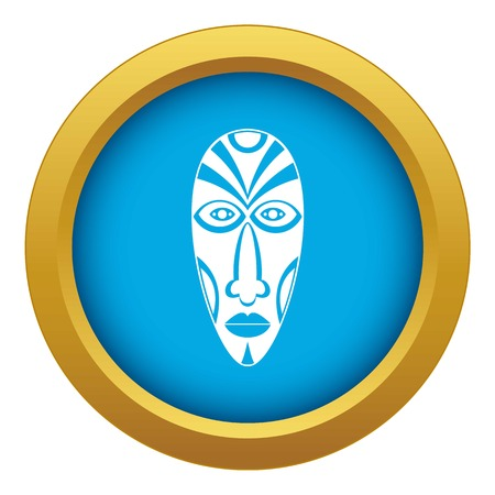 African mask icon blue vector isolated Illustration