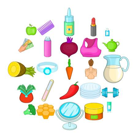 Moisturizing the skin icons set. Cartoon set of 25 moisturizing the skin product vector icons for web isolated on white background Archivio Fotografico - 124640412
