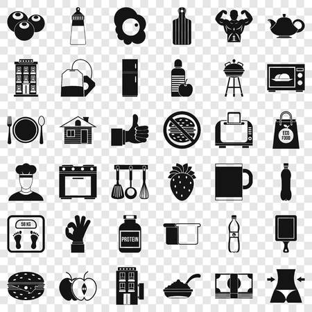 Early breakfast icons set, simple style