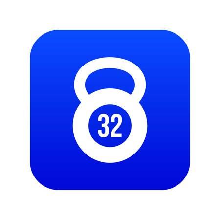 Kettlebell 32 kg icon digital blue for any design isolated on white vector illustration Illustration