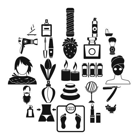 Cosmetology icons set, simple style Archivio Fotografico - 118649725